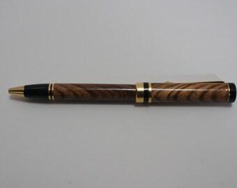 pen, ballpoint, zebrawood, gold