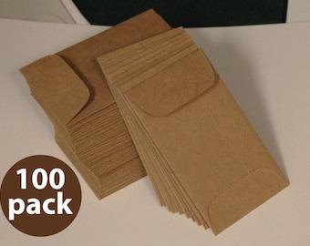 Brown Bag Kraft Mini Envelope 2-1/4 x 3-3/4, 100 Pack