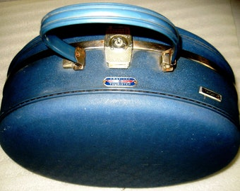 American Tourister Blue Hard Round Vintage 1960s Suitcase Tri Taper Bag