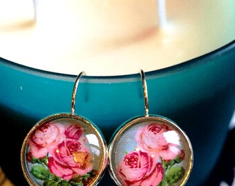 Pink Roses cabochon earrings- 16mm