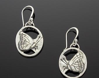 Handmade Sterling Silver Butterfly Earrings