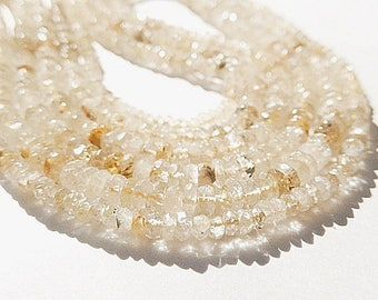 Golden Rutilated Quartz Gemstone, Faceted Rondelle Bead, Semi Precious Gemstone.  3.5mm Strand Your Choice  (o6grt)