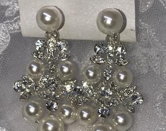Pearl Crystal Cluster Bridal Earrings Clip on
