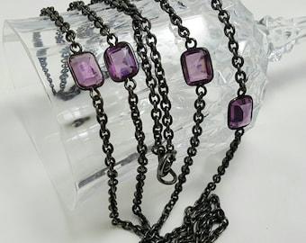 Purple Glass Stone Necklace