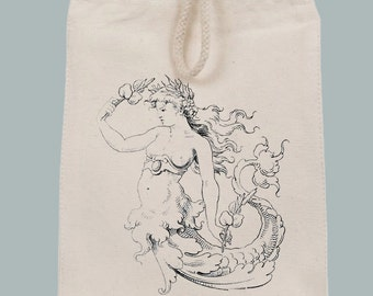 Vintage Mermaid Clutch Lunch Bag Mini Tote with Velcro closure and Rope Handle