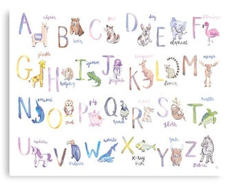Alphabet animals - alphabet printable - alphabet printable - homeschool alphabet art - digital download
