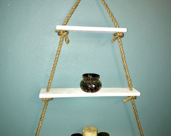 3 Tier Shelf, Wooden Shelf, Rustic Shelf, Floating Shelf, Rustic Wall Decor, Rope Shelf, Wedding Gift, Anniversary Gift