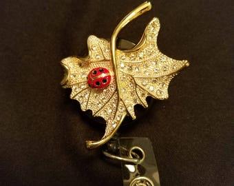 Leaf with Ladybug Badge Holder