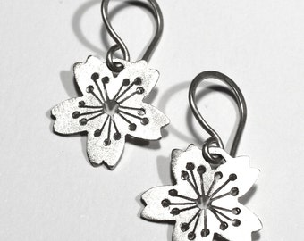 Sakura # 3 earrings in Sterling Silver