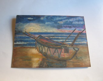 80's original painting, boat on the beach by James Howes