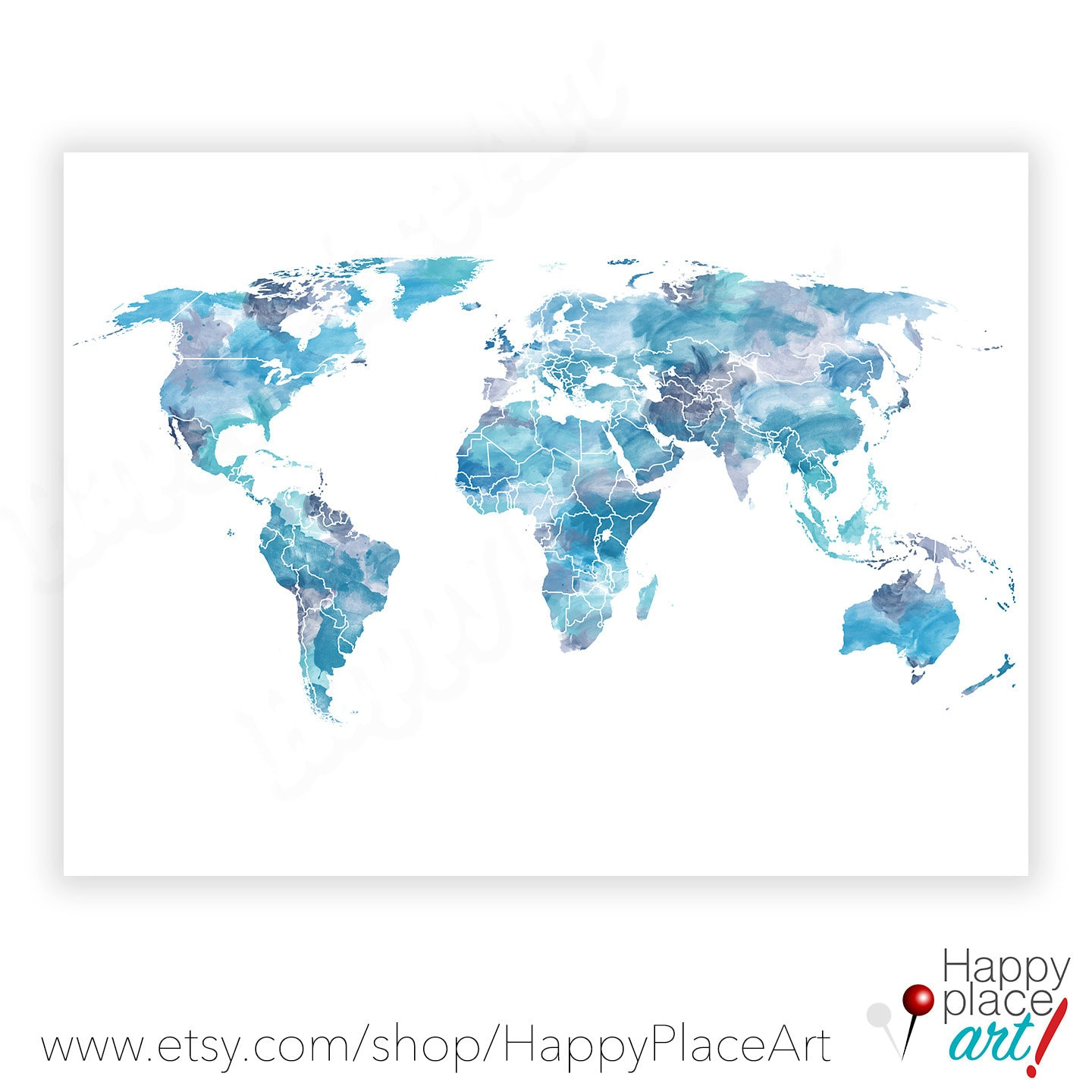 Shades of blue world map watercolor world map world map zoom gumiabroncs Gallery