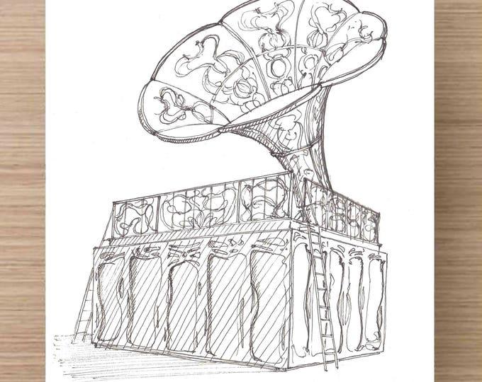 Ink Sketch of La Victrola at Burning Man 2017 - Drawing, Art, Nevada, Phonograph, Sculpture, Music, Black Rock City, Pen and Ink, 5x7, 8x10