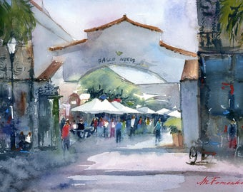 Fine art print. Santa Barbara downtown