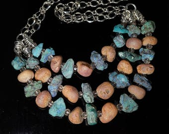 Chrysocolla Necklace, Chrysocolla chunky Jewelry, Chrysocolla Necklace set, Semi-Precious Stone Necklace, multi-strand necklace, OOAK
