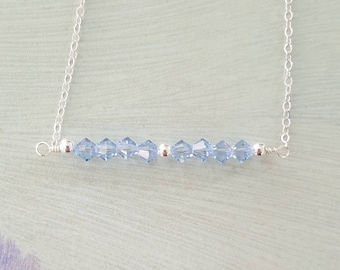 Sapphire Swarovski and Sterling Silver Bar Necklace