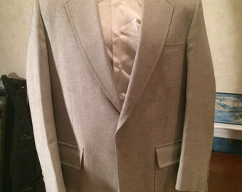1970s Speckled Blazer - Mens Causal Ivory Sport Coat from Palm Beach size