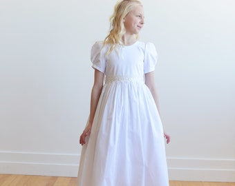The Therese First Communion Dress in Pure Cotton with a Lace Trim