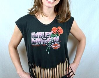 Vintage 80s Harley Davidson Shredded Fringe Cropped Biker Rose Tee Shirt