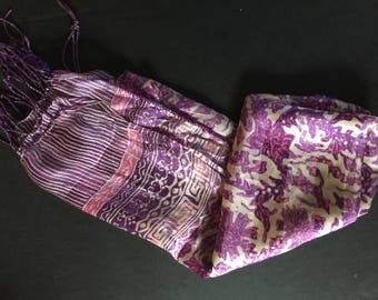 Beautiful mixed colour silk scarf of purple with a creamy white and pink background