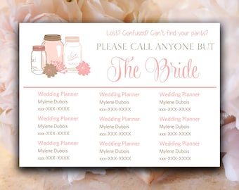"DIY Wedding Information Card Template ""Please Call Anyone But the Bride"" Card - Blush Pink Mason Jar Wedding Printable Wedding Contact Card"