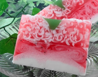 Strawberries and Cream Soap made with Shea Butter - Glycerin Soap - Handmade Soap - Summer Soap - Fruit Soap - Artisan Soap - SoapGarden