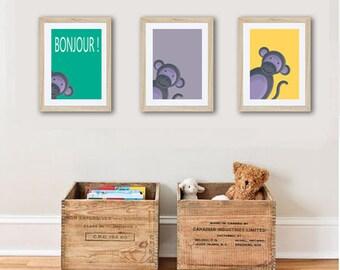 3 posters of monkey , boy wall art décor, kids room, nursery