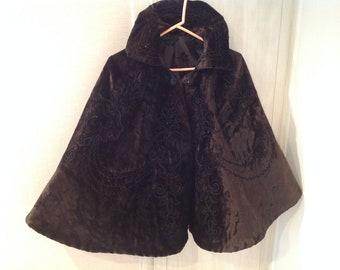 Antique cape, dark brown velvet with beading, circa 1900
