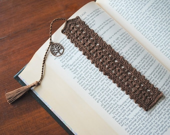 Crochet bookmark, brown, tree charm on the tassel, unique book lover gift