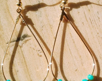 Drop hoop earrings turquoise pearls