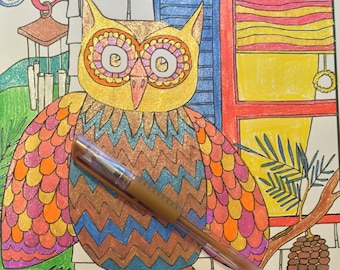Whimsical Owl Coloring Page