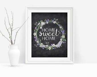 Home Sweet Home Printable Wall Art, Shabby Chic Entryway Art, Chalkboard Sign, Digital Download