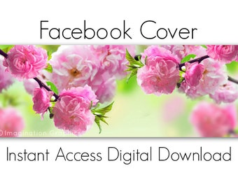Facebook Cover Digital Download, Soft Pink Blossoms, Instant Access, Pre-made Facebook Cover, DIY, NO TEXT, Beautiful Spring Trees