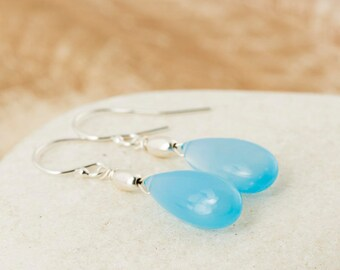 Blue Chalcedony earrings/Chalcedony Earrings/Blue stone earrings/Blue Chalcedony Teardrop Earrings