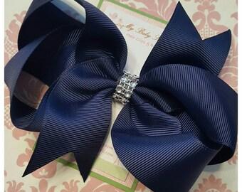 Girl hair clips, girl hair bows, barrettes for girls, navy blue hair clips, blue hair bows