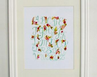 Watercolor Floral Alphabet Nursery Print