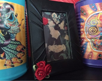 Day of the Dead Día de los Muerto Print Mexican Art Handpainted Small Picture Frame Embellished Red Roses Goth Gothic Halloween OOAK Gift