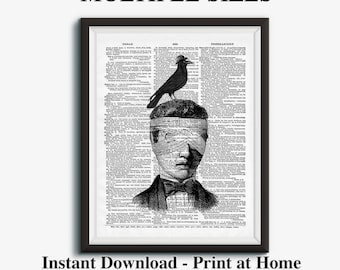Steampunk Crow, Antique Illustration, Dictionary Art Print, Raven, Rook, Man Illustration, Antique Bird, Printable Wall Art