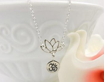 FREE US Ship Dainty Sterling Silver Ohm Lotus Necklace Lotus Layering Necklace Yoga Necklace Ohm Necklace Meditation Necklace