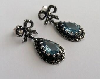 Blue Chandelier Earrings - Aquamarine Earrings in Sterling Silver Aguamarina Ribbon - Aquamarine Jewelry - Marcasite, Vintage Earrings