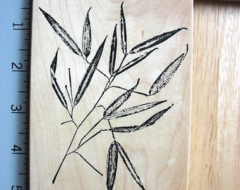 Fred Mullet XL Big Bamboo DESTASH Rubber Stamp~Used Rubber Stamps~botanical rubber stamp~nature print bamboo stamp