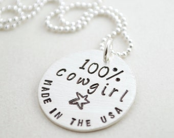Cowgirl Necklace - Made in the USA Hand Stamped Sterling Silver Cowgirl Necklace - Western Jewelry Cowgirl Gifts for Women