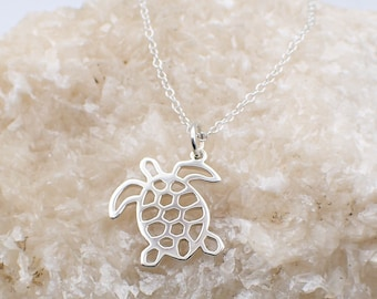 Turtle Necklace Sterling Silver Filigree Tortoise Charm Pendant Cable Chain