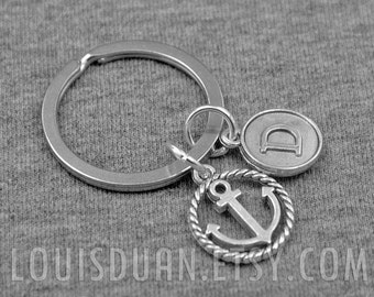Anchor Key chain -Sailor Keychain -Initial Key chain -Your Choice of A to Z
