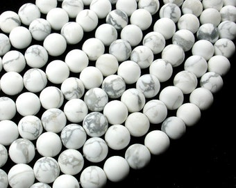 Matte White Howlite, 8mm (8.5mm) Round Beads, 15 Inch, Full strand, Approx 46 beads, Hole 1mm, A quality (275054019)