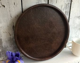 Tray, Serving Tray, Faux Leather Tray, Round Tray