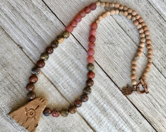 Clay Pendant Beaded Necklace, Gemstone Beaded Necklace, Healing Gemstone Necklace, Boho Beaded Necklace, Mens Necklace, Mens Jewelry
