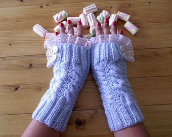 KNITTING PATTERN Mittens - Lorelain Mitts - knit lace fingerless mittens Gloves pdf Pattern Lace Mittens with Buttons romantic love