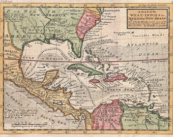 Map Of The West Indies & Caribbean; Antique Map by Moll, 1732