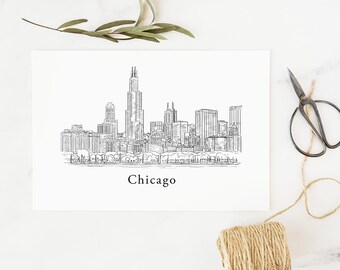 Chicago Skyline Print, wall art, Chicago Cityscape, art, drawing, downtown, Sears Tower, Willis Tower, housewarming gift, moving gift