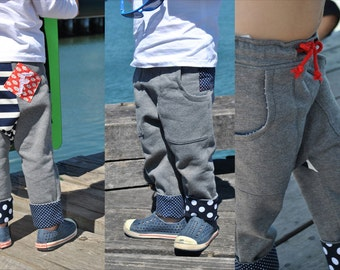 Boy's pants sewing pattern RASCAL PANTS -- cool, slouchy pants for boys and tomboys, toddler pants pattern, children's sewing pattern.
